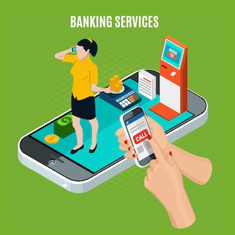 Banking services isometric composition