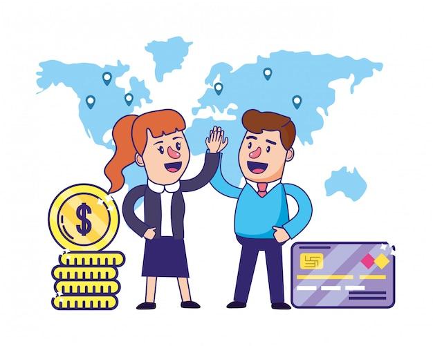 銀行業務のチームワーク財務計画