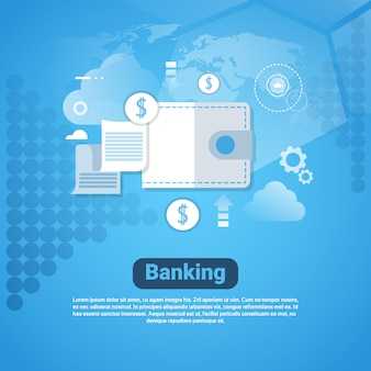 Banking template web banner with copy space money savings concept