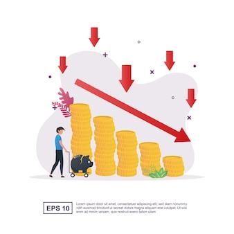 감소하는 돈 그래프와 돼지 저금통을 들고 있는 사람이 있는 파산 개념.