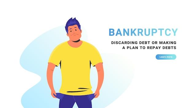 파산 및 부채 처분 또는 부채 상환 계획 수립. 파산으로 빈 주머니와 함께 서 있는 가난한 화가 남자의 평면 벡터 그림. 경제 불황과 금융 위기 개념