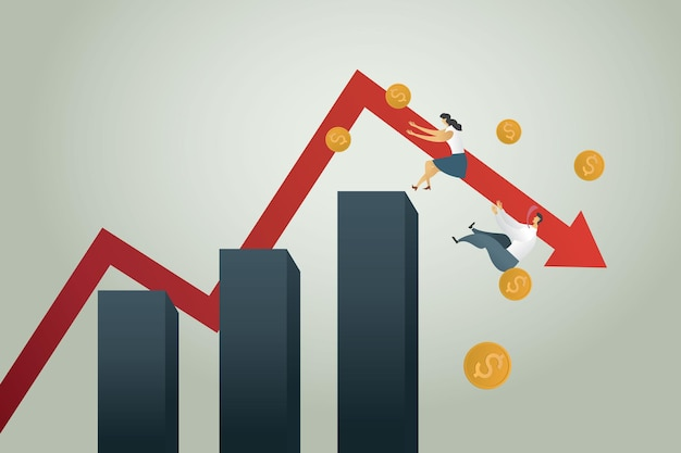 Bankruptcy business administration businessman and businesswoman falling from down arrow chart coin