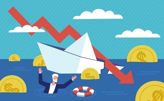 파산 사업. 재정 구조, 우울한 사업가 생존. 경제 금융 위기, 침몰하는 사업, 대출 회수 자금 문제, 사람 및 경제 침체 떨어지는 화살표 벡터 개념