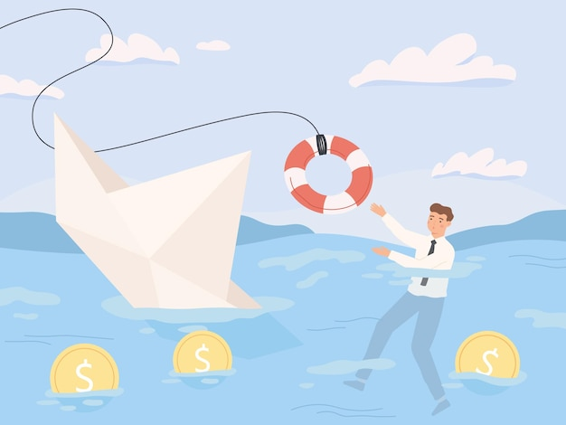 Bankruptcy business. financial rescue, sinking business in crisis and economic risks. economy recession loan payback problems vector illustration. crisis and bankruptcy, financial help and rescue