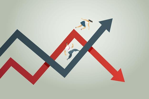 Банкротство бизнес-леди упала с диаграммы стрелка вниз деловой человек получает прибыль