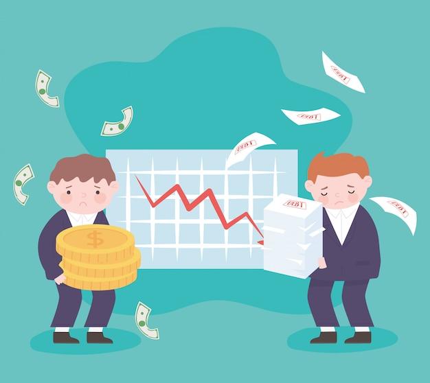 Банкротство бизнесменов держит монеты и листы диаграмма вниз стрелка бизнес финансовый кризис