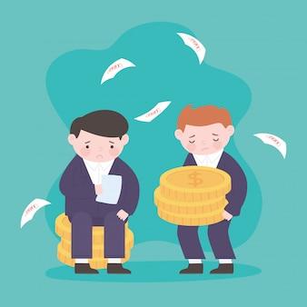 Банкротство бизнесменов стопку монет и падающих бумаг долгового бизнеса финансового кризиса
