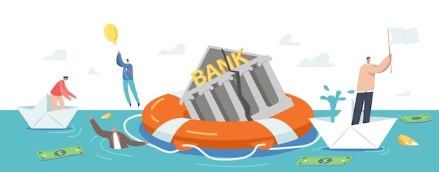 Bankruptcy concept. businesspeople characters swim around sinking bank building on lifebuoy trying to survive during financial crisis. people on paper ships and balloon. cartoon vector illustration