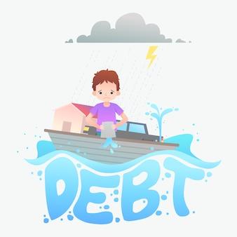 Bankruptcy concept debt illustration
