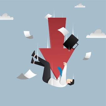 Падение концепции банкротства с символом красной стрелки