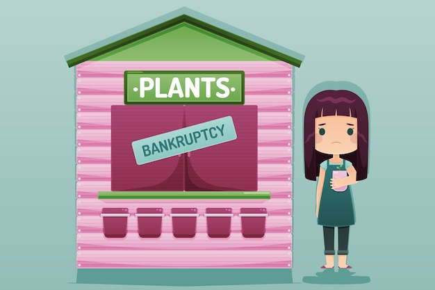 Bankruptcy concept illustration