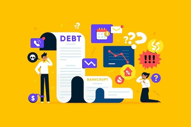 Концепция банкротства плоский дизайн