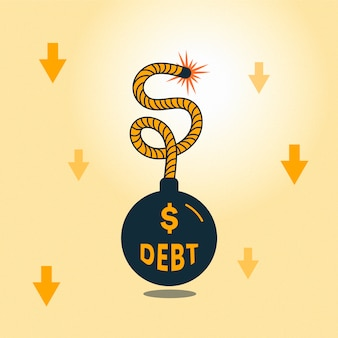 Bankruptcy concept with debt bomb