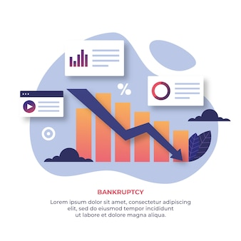 Bankruptcy concept with graph