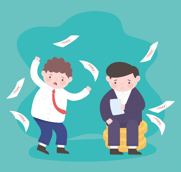 Банкротство долговых бумаг и грустные бизнесмены на финансовом кризисе бизнеса монет