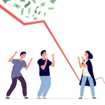 倒産。金融危機、下落チャート。動揺する人々と経済問題。