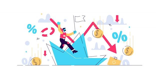 파산 그림 파산 회사와 작은 사람 개념. 금융 위기에서 비즈니스 프로세스 싱킹. 경제적 인 대출 회수 문제와 투자 실패 및 예산 축소.