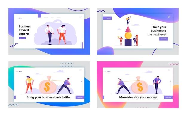 Набор целевой страницы веб-сайта о банкротстве, лидерстве и деньгах
