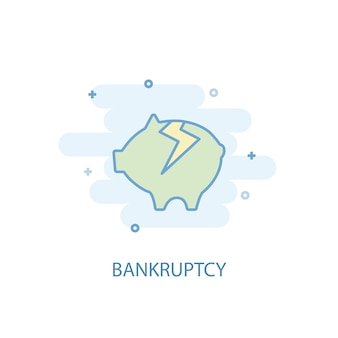 Bankruptcy line concept. simple line icon, colored illustration. bankruptcy symbol flat design. can be used for ui/ux
