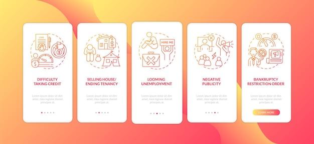 破産の悪影響の概念を備えた赤いオンボーディングモバイルアプリページ画面
