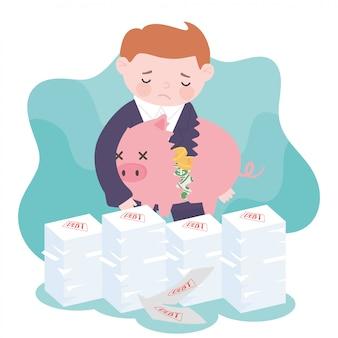 Банкротство печальный бизнесмен держит сломанную копилку с деньгами и долговыми бумагами бизнес финансовый кризис