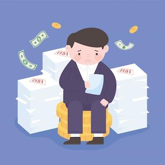 Банкротство грустного бизнесмена с стопкой бумаг, долгов, падающих денег, финансового кризиса
