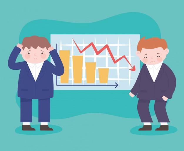 破産不幸なビジネスマンの金融矢印がビジネス危機を下方修正