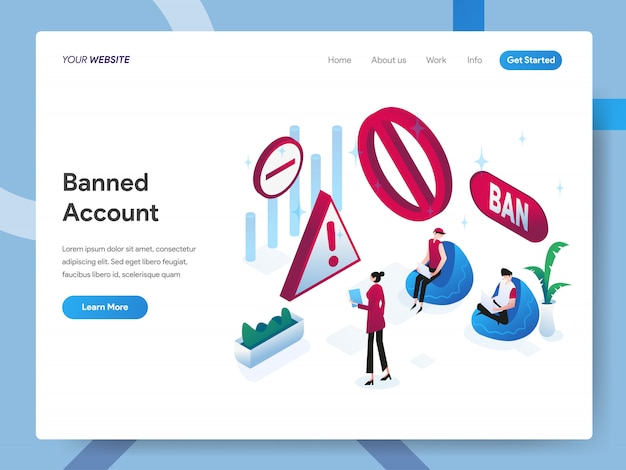 Banned account isometric illustration for website page