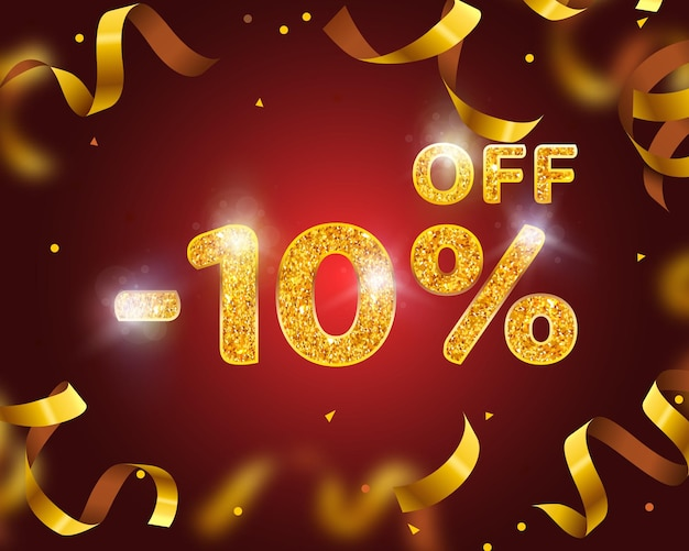 Banner 10 off with share discount percentage, gold ribbon fly. vector illustration