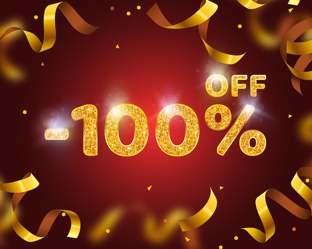 Banner 100 off with share discount percentage, gold ribbon fly. vector illustration