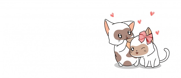 Баннер 2 очаровательные кошки имеют счастливое время для любящего дня