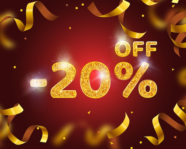 Banner 20 off with share discount percentage, gold ribbon fly. vector illustration