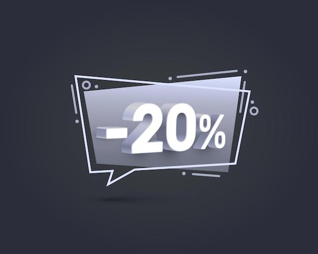 Баннер 20 с процентной скидкой на акции. векторная иллюстрация