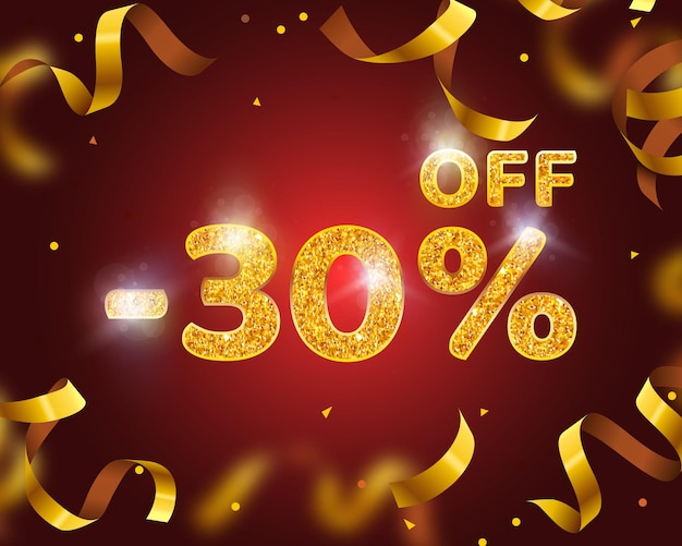 Banner 30 off with share discount percentage, gold ribbon fly. vector illustration
