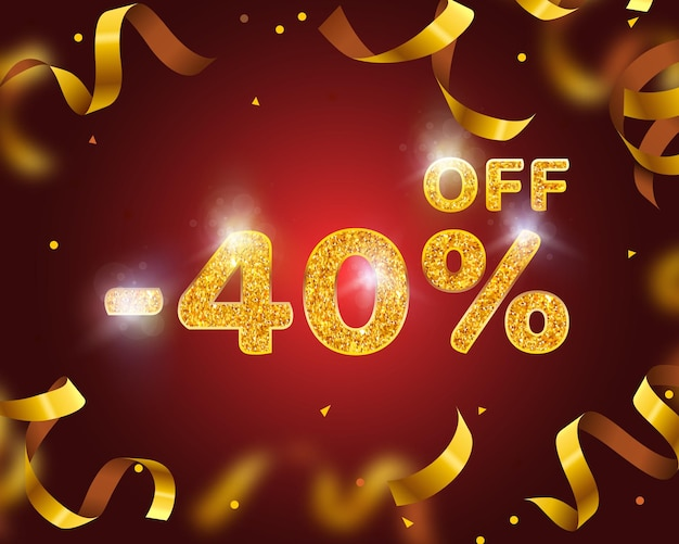 Banner 40 off with share discount percentage, gold ribbon fly. vector illustration