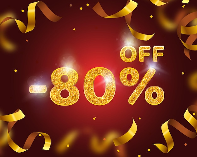 Banner 80 off with share discount percentage, gold ribbon fly. vector illustration