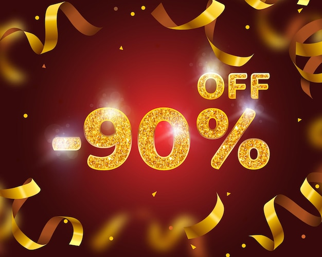 Banner 90 off with share discount percentage, gold ribbon fly. vector illustration