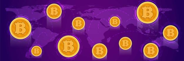 ビットコインとグローバルデジタル経済の概念についてのバナー