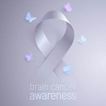 Баннер об осведомленности о раке мозга с серой лентой и бабочками, летающими вокруг знака