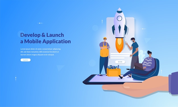 Banner about develop and launch a mobile application concept