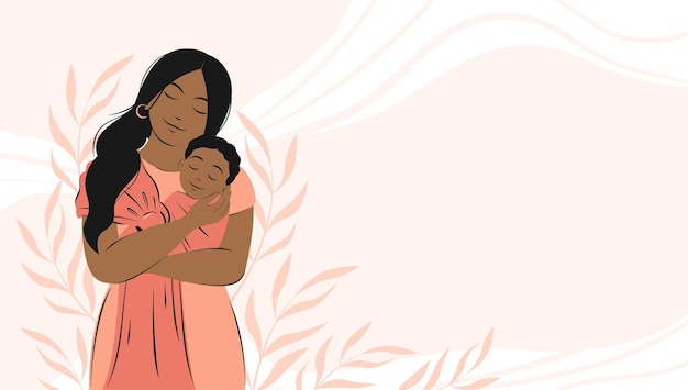 Banner about pregnancy and motherhood african american woman is holding newborn baby