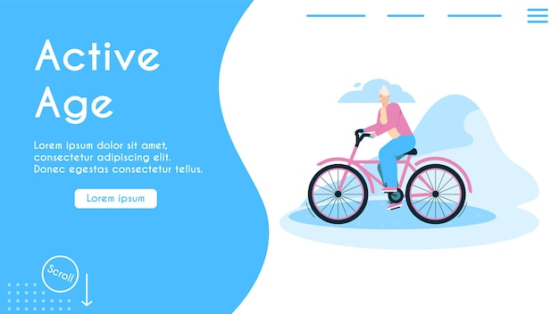 Banner of active age concept. grandmother riding bike outdoor.