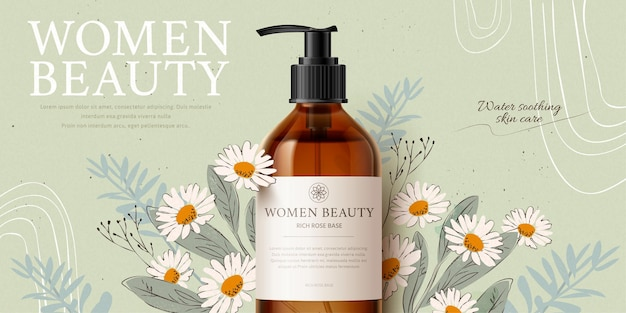 Banner ad for herbal cleansing product mockup with romantic handdrawn chamomile and leaves