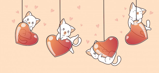 Banner adorable cats and heart balloons in valentines day