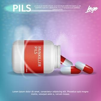 Banner advertisement packaging painkiller pils