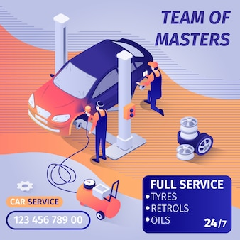 Banner advertises skilled teamwork in car paint service