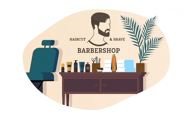 Banner advertising barbershop haircut and shave.