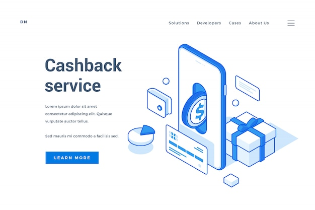 Banner advertising modern cashback service for devices