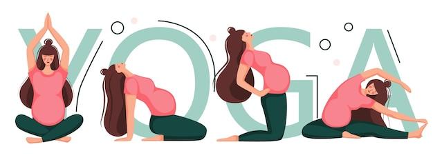 Banner for advertising pregnant yoga. women doing exercise. variants of poses.  illustration.