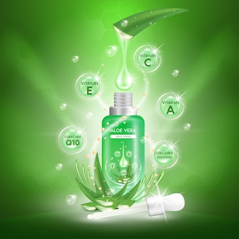 Banner of aloe vera plant with fresh drops and dropper glass bottle